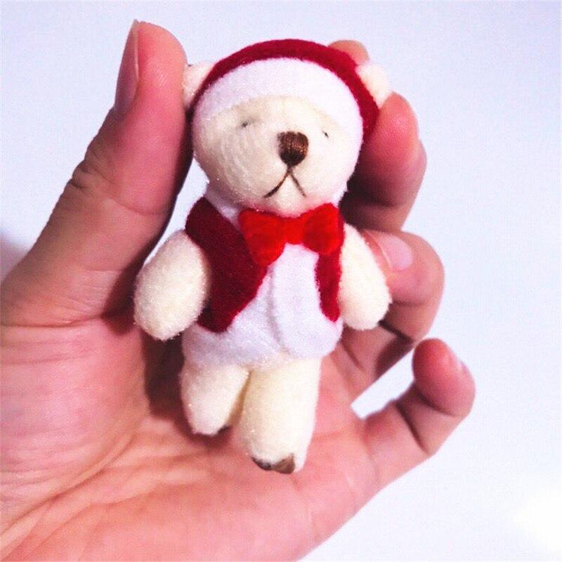 Новинка 50 шт./лот прекрасный мини 6 см плюшевый медведь Рождественский плюшевый мишка кукла кулон украшение