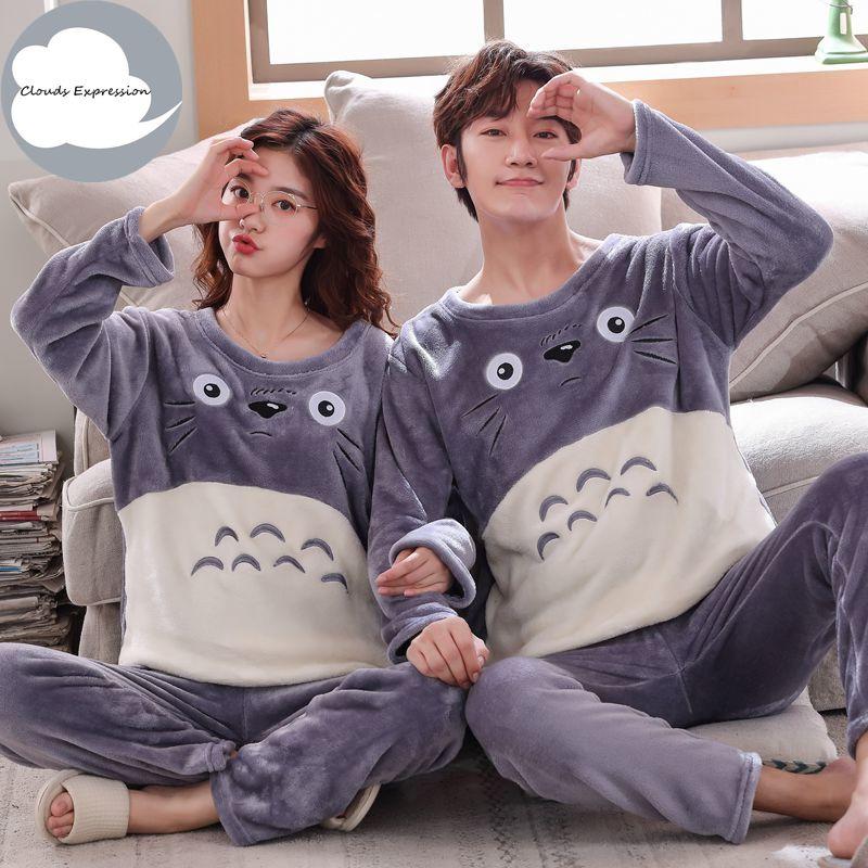 Winter Flannel Pajama Set Women Thin Fleece Sleepwear Women's Pyjama Set Casual Pijama Hombre Warm Couple Pajamas XXL Homewear