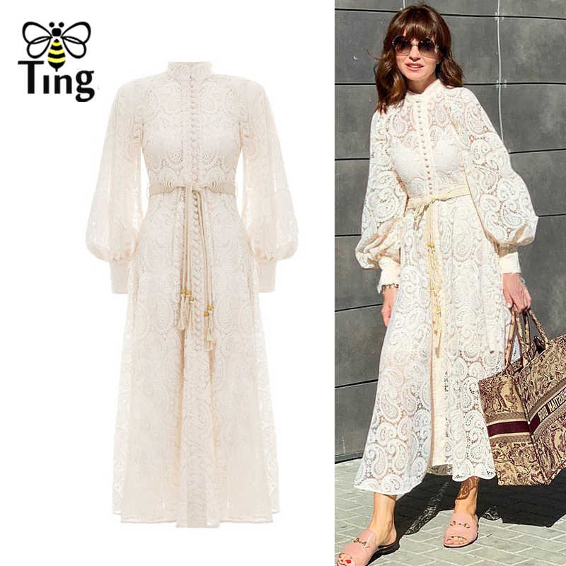 Tingfly Runway Designer Lace Midi Long Dress Single Breasted Button Hollow Out Long Lace Dress Vestidos Party Dresses + Sashes