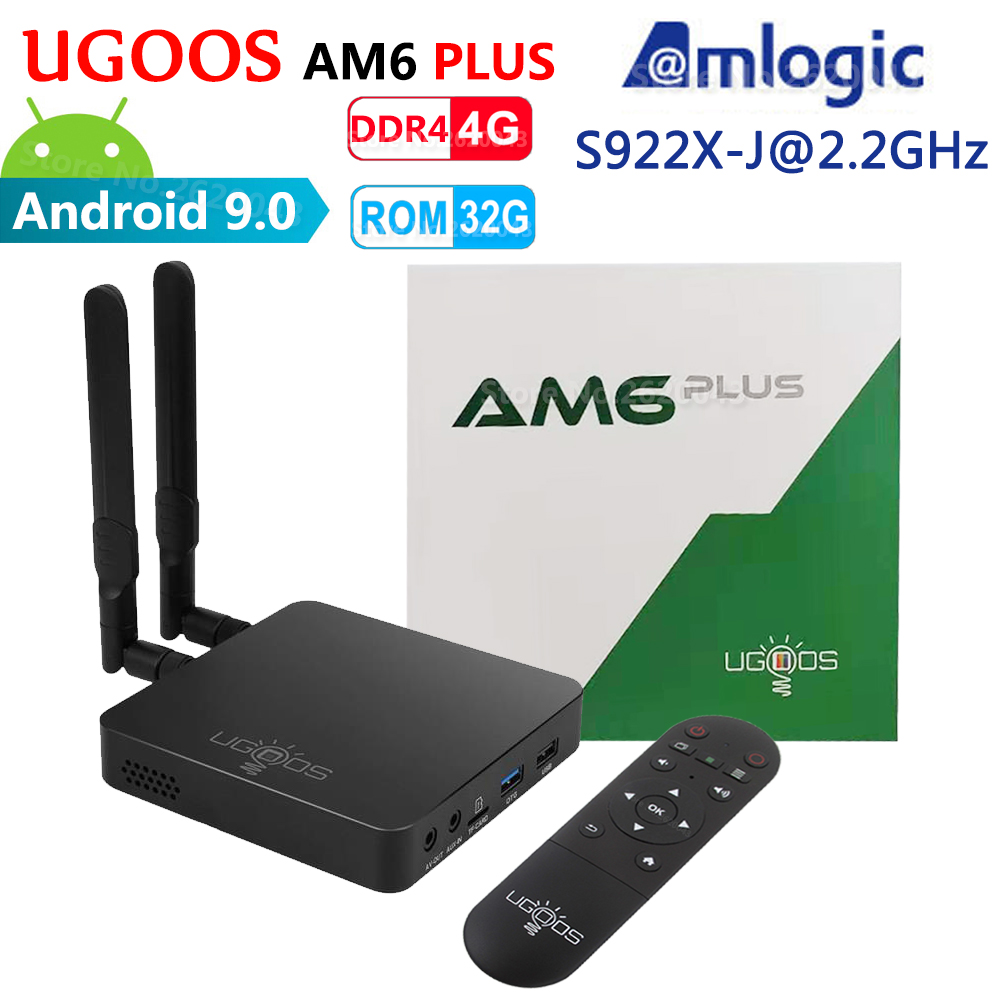 UGOOS AM6 Plus Amlogic Smart Android 9,0 ТВ-приставка DDR4 4 ГБ ОЗУ 32 Гб ПЗУ 2,4G 5G WiFi 1000 м LAN Bluetooth 4K HD медиаплеер