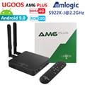UGOOS AM6 Plus Amlogic Smart Android 9,0 ТВ-приставка DDR4 4 ГБ ОЗУ 32 Гб ПЗУ 2,4G 5G WiFi 1000 м LAN Bluetooth 4K HD медиаплеер