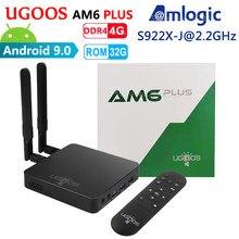 Ugoos am6 plus amlogic smart android 9.0 caixa de tv ddr4 4gb ram 32gb rom 2.4g 5g wifi 1000m lan bluetooth 4k hd media player