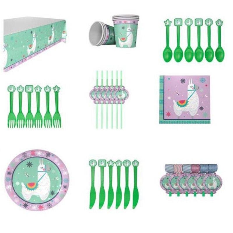 59Pcs Llama Party Llama Alpaca Disposable Tableware Supplies Paper Plates Cups Napkins Animal Happy Birthday Party Decoration Fo
