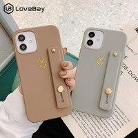 Custodia per telefono in silicone Lovebay Love Heart con cinturino da polso per iPhone 11 12 Pro Max Mini X XR XS Max 7 8 Plus SE 2020 Cover posteriore in TPU morbido