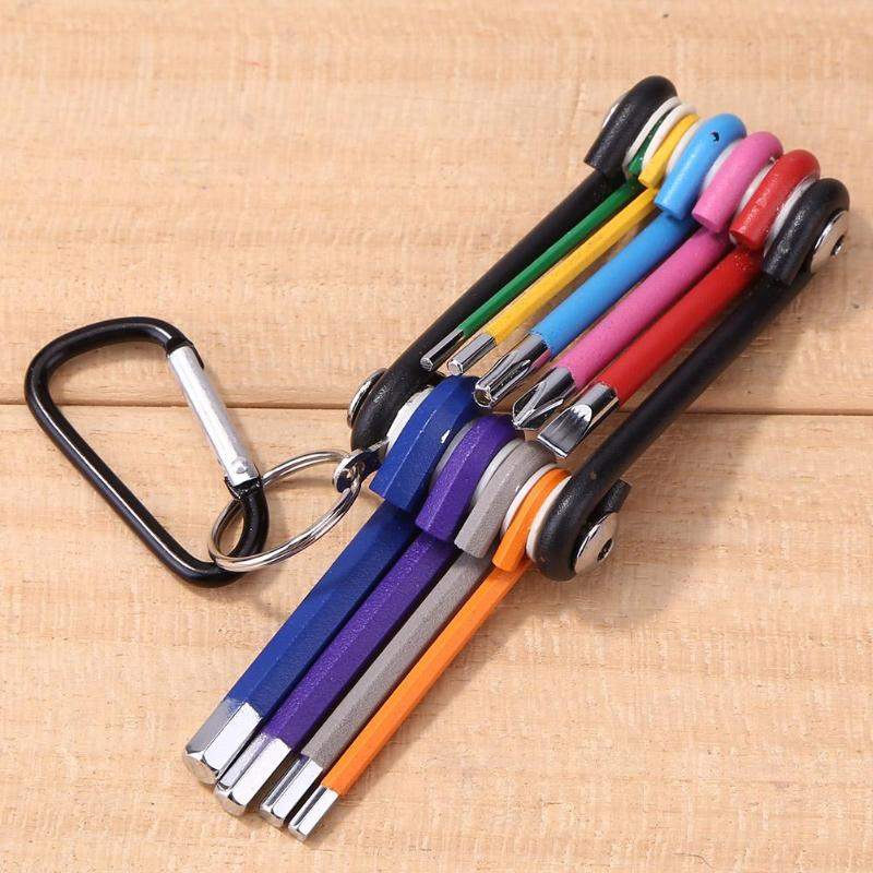 9 In 1 Bicycle Tool Kit 3 Inch Screwdriver Wrench Set Flat Cross T25 Hex Allen Keys 2/2.5/3/4/5/6/8mm Rainbow Color