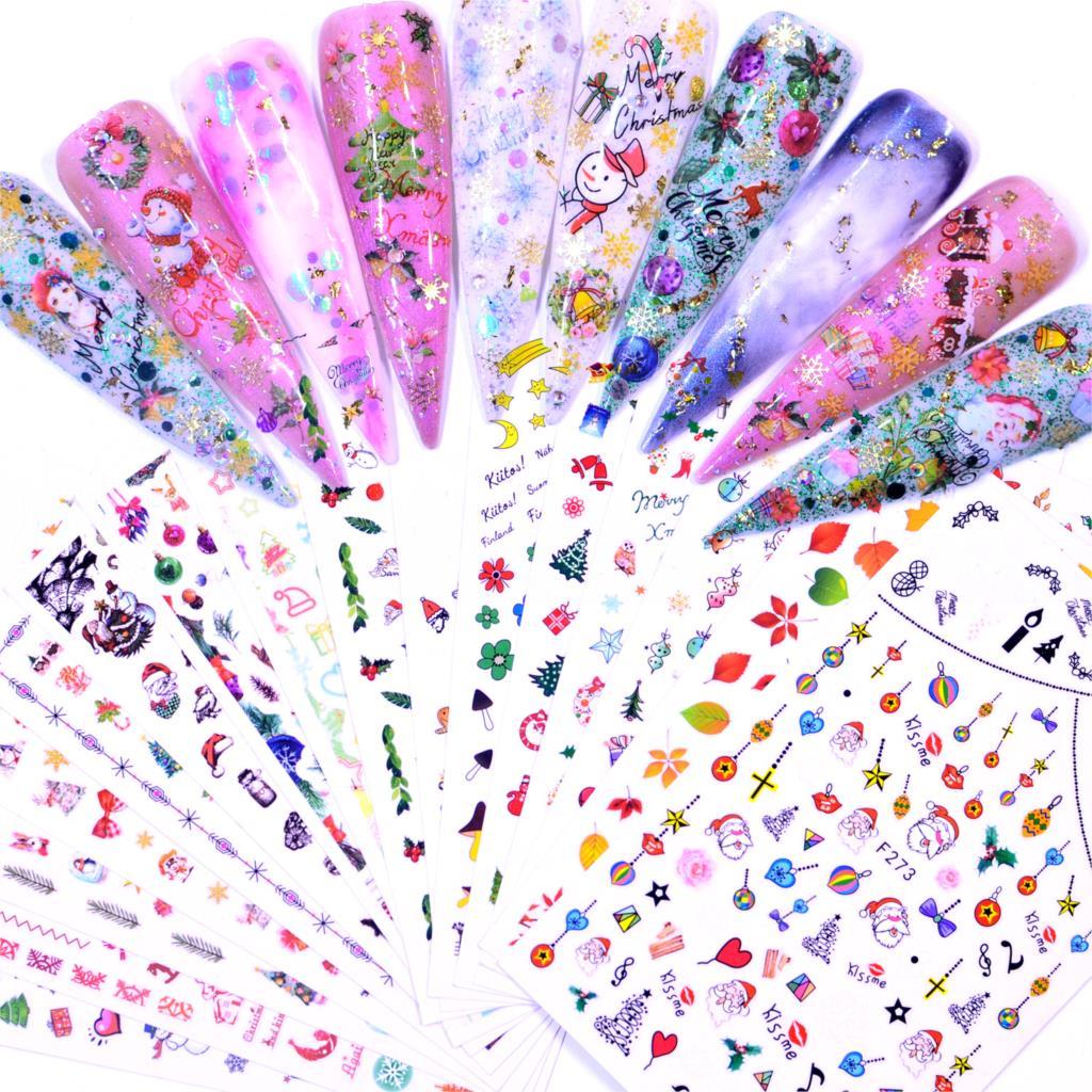 FWC 1 Лист Рождественские/садовые цветы/Dande 3D рельефные наклейки на ногти Цветок Клей DIY маникюр слайдер для дизайна ногтей