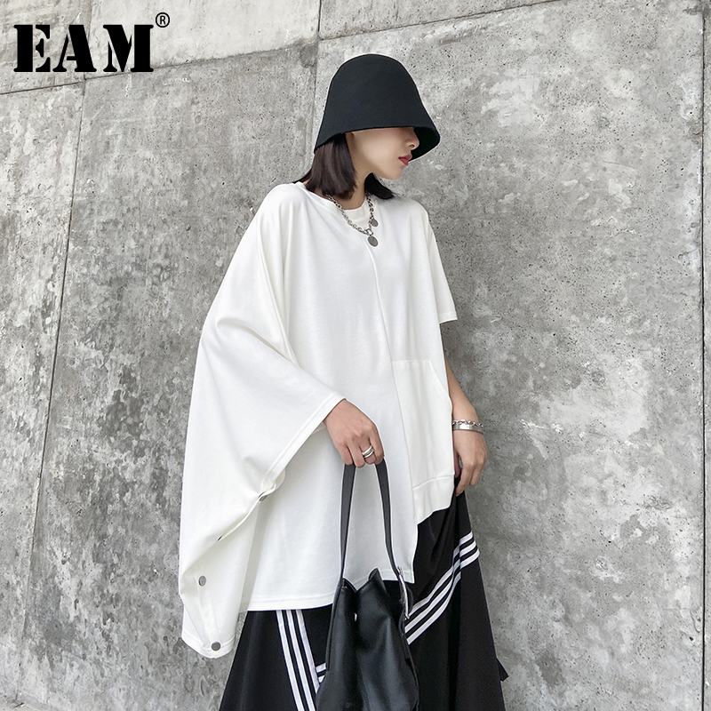 [EAM] Women White Asymmetrical Split Big Size T-shirt New Round Neck Batwing Sleeve  Fashion Tide  Spring Summer 2020 1T783