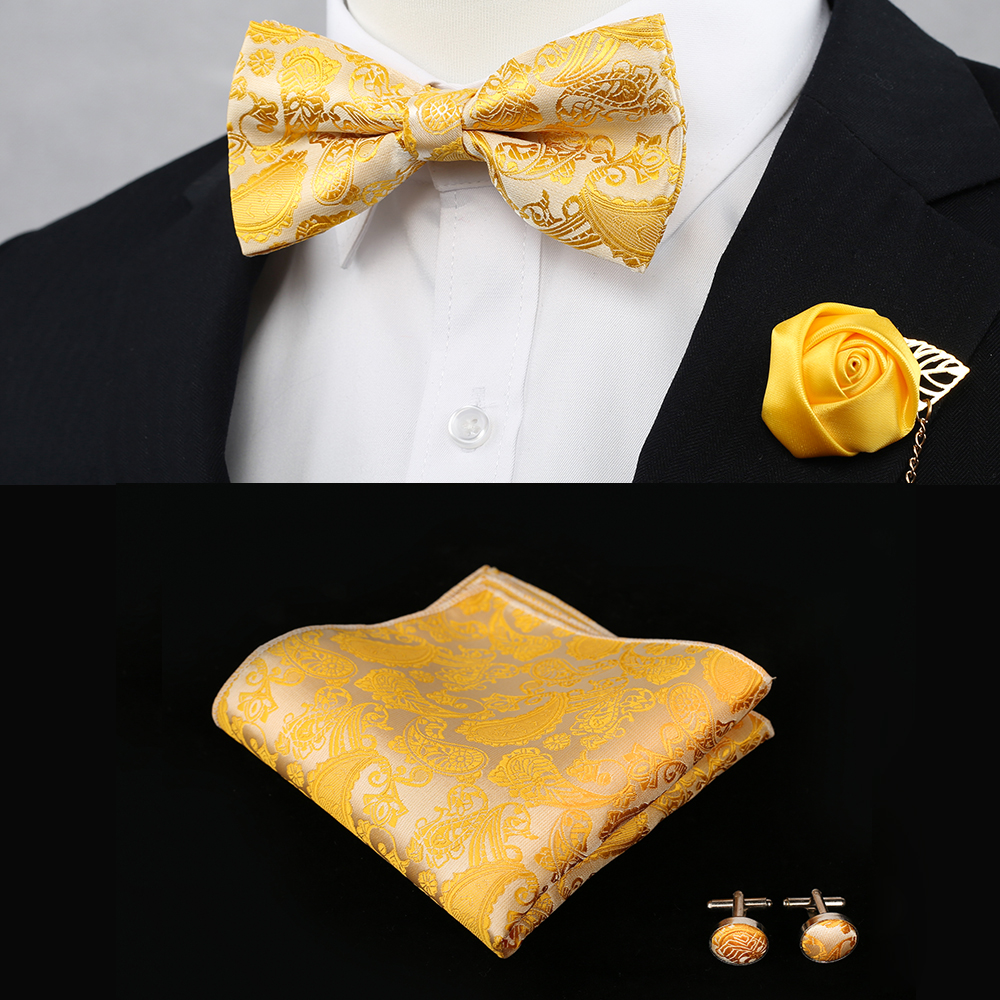 New Silk Flower Business Bowtie Men Vintage Purple Red Black Gold Royal Blue Wedding Bow Ties Pocket Square Handkerchief Set