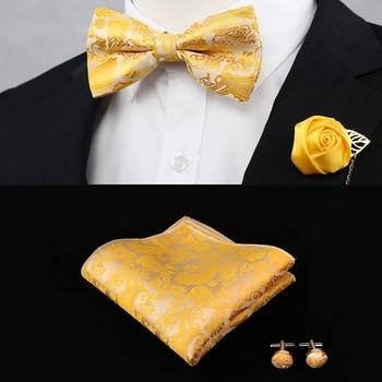 New Silk Flower Business Bowtie Men Vintage Purple Red Black Gold Royal Blue Wedding Bow Ties Pocket Square Handkerchief Set