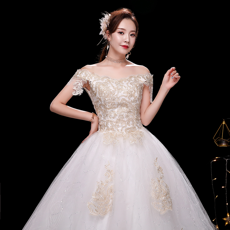 2019 Lace Off-Shoulder Boat Neck Elegant Vestidos De Noivas Lace Up Cheap Luxury Wedding Dress 100% Real Photo Appliques Vintage