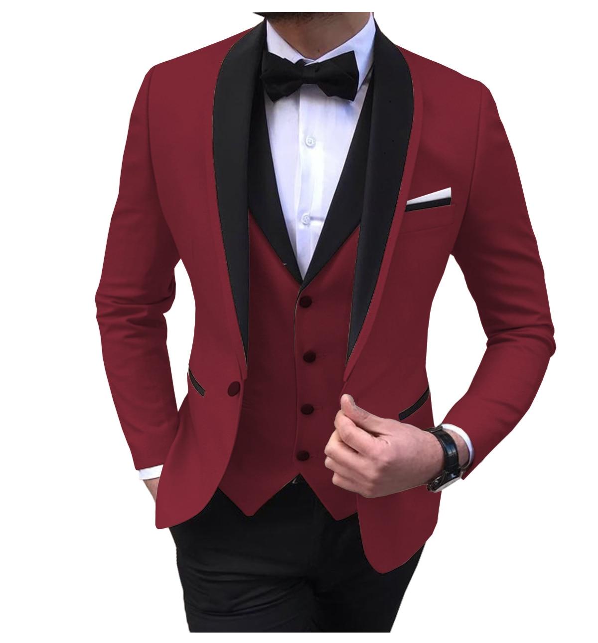 Blue slit mens suits 3 piece black shawl lapel casual tuxedos for wedding groomsmen suits men 2020 (blazer+vest+pant) 3