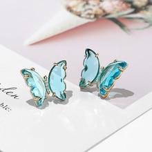 Butterfly Earrings Glass Crystal Korean-Jewelry Transparent Statement Shiny Women Fashion
