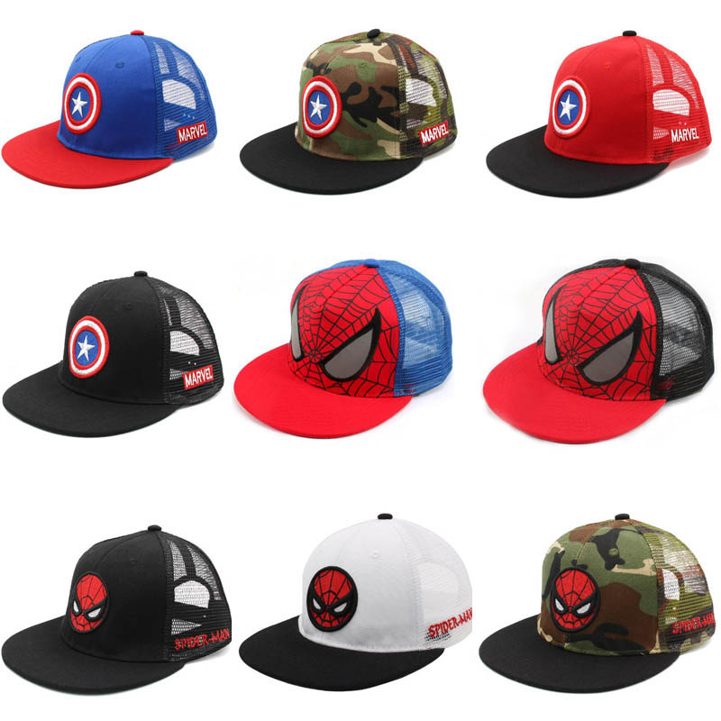 Doitbest Children Hip Hop Baseball Cap Captain Spiderman Summer Kids Sun Hat Boys Girls Mesh Snapback Caps For 2-9 Years Old