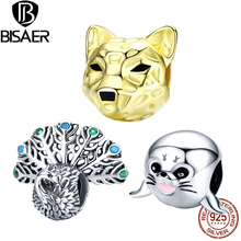 BISAER  925 Sterling Silver Animals Series Leopard Sea lion Peacock Charms Fit Bracelet Original silver DIY Jewelry Accessories