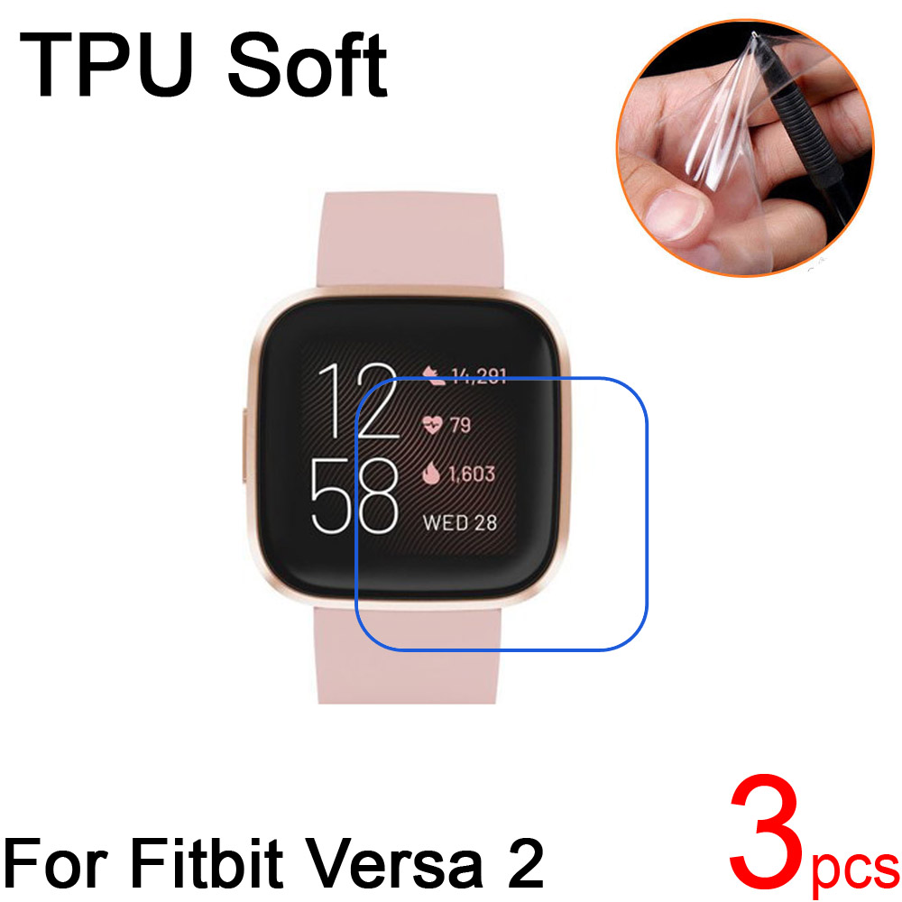 3pcs Ultra Clear TPU Soft For Fitbit Versa2 Screen Protectors Cover For Fitbit Versa 2 Smart Sports Watch Protective Film+cloth