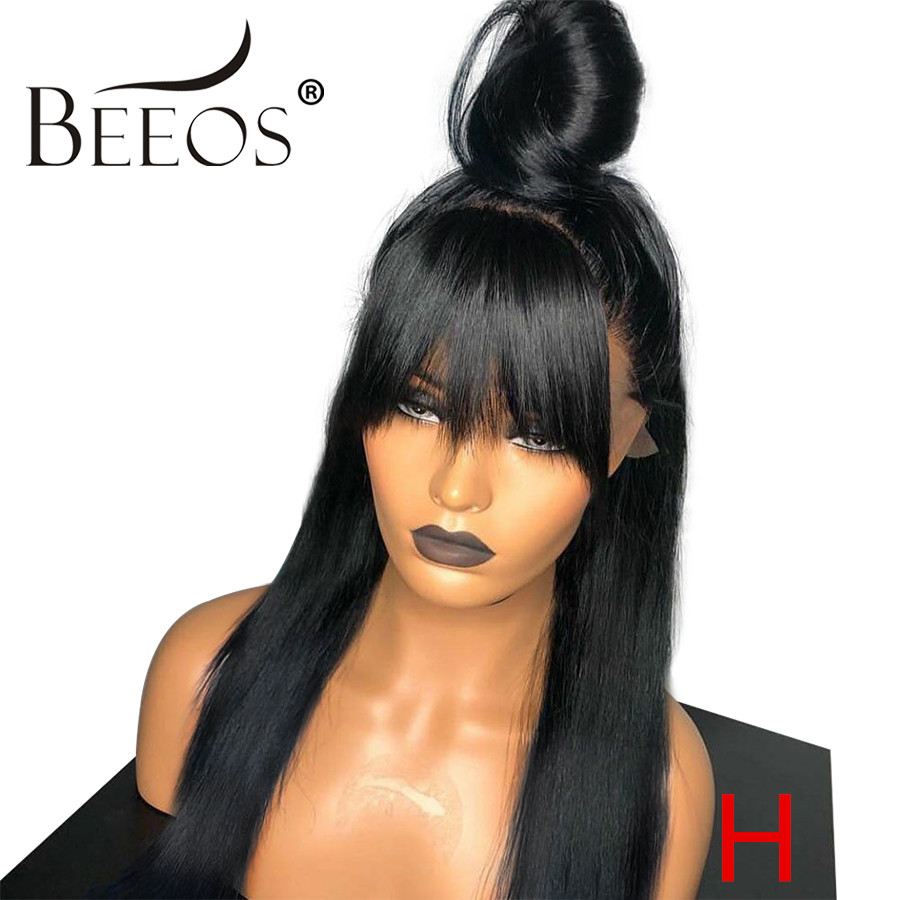 Beeos High Ratio 180%  Straight With Bang 13*6 Deep Part Lace Front Human Hair Wigs Bleached Knots Peruvian Remy Hair 8