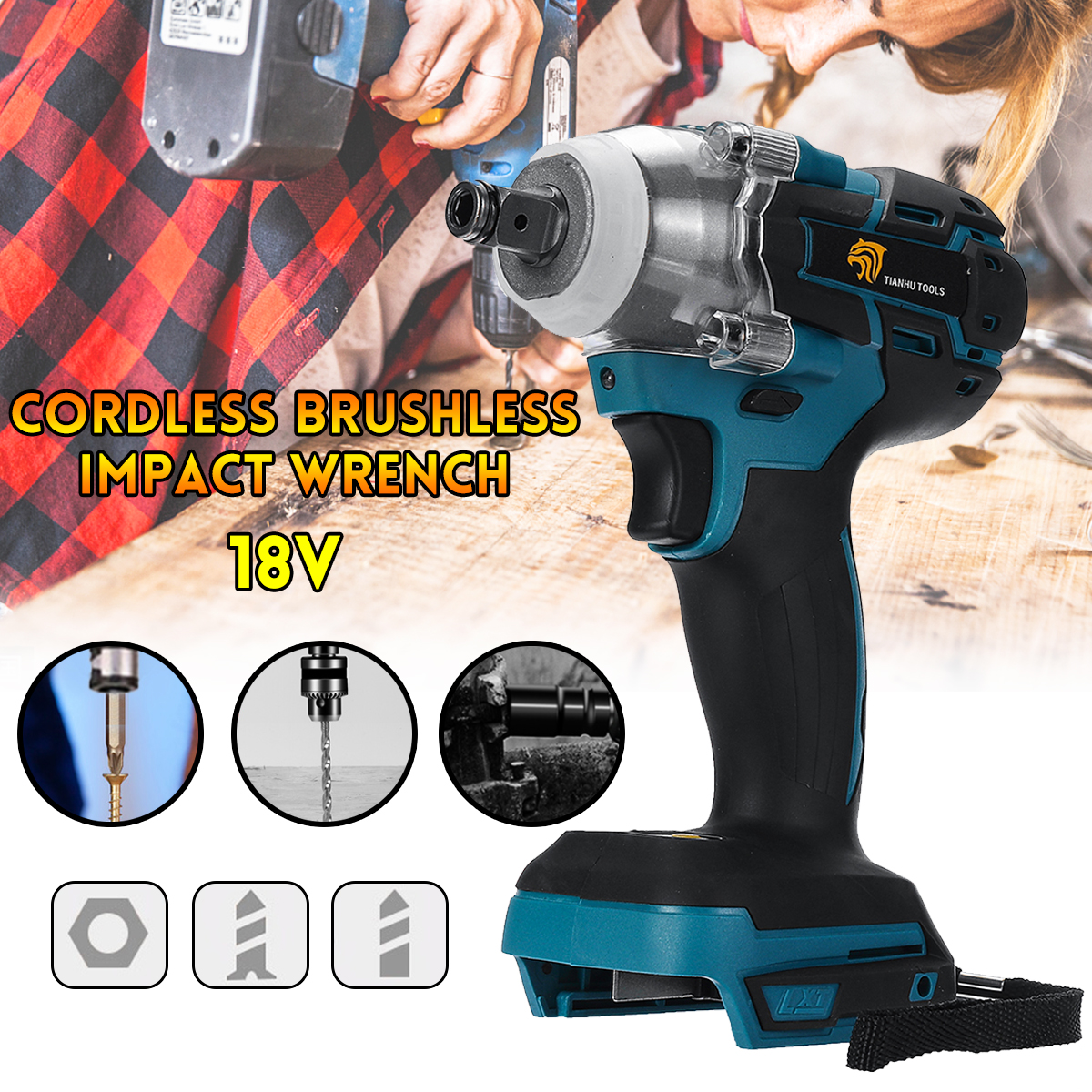 18V Impact Wrench Brushless Cordless Electric Wrench Power Tool 520N.m Torque Rechargeable For Makita Battery DTW285Z|Electric Wrenches|   - AliExpress