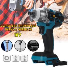 цена на 18V Impact Wrench Brushless Cordless Electric Wrench Power Tool 520N.m Torque Rechargeable For Makita Battery DTW285Z