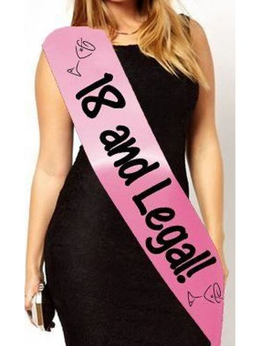 18th Birthday Sash - 18 And Legal!: Eighteen Eighteenth Cheap Party Present Novelty Gift - Baby Pink