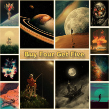 Decorative Painting Wall-Sticker Space-Poster Astronaut Living-Room Home-Bar Kraft-Paper