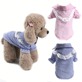 Stripe Puppy Boy Girl Dog Shirt Dress lovers Clothes Summer Cheap Dog Clothes for Small Medium Dogs Ruffle Tutu Dress Lace Shirt image