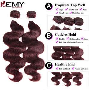 Image 4 - 99J/Burgundy Body Wave Human Hair Bundles With Closure 4x4 KEMY HAIR Brazilian Hair Weave Bundles With Lace Closure Non Remy