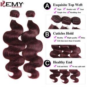 Image 4 - 99j/borgonha onda do corpo pacotes de cabelo humano com fechamento 4x4 kemy cabelo brasileiro tecer pacotes com fechamento do laço não remy