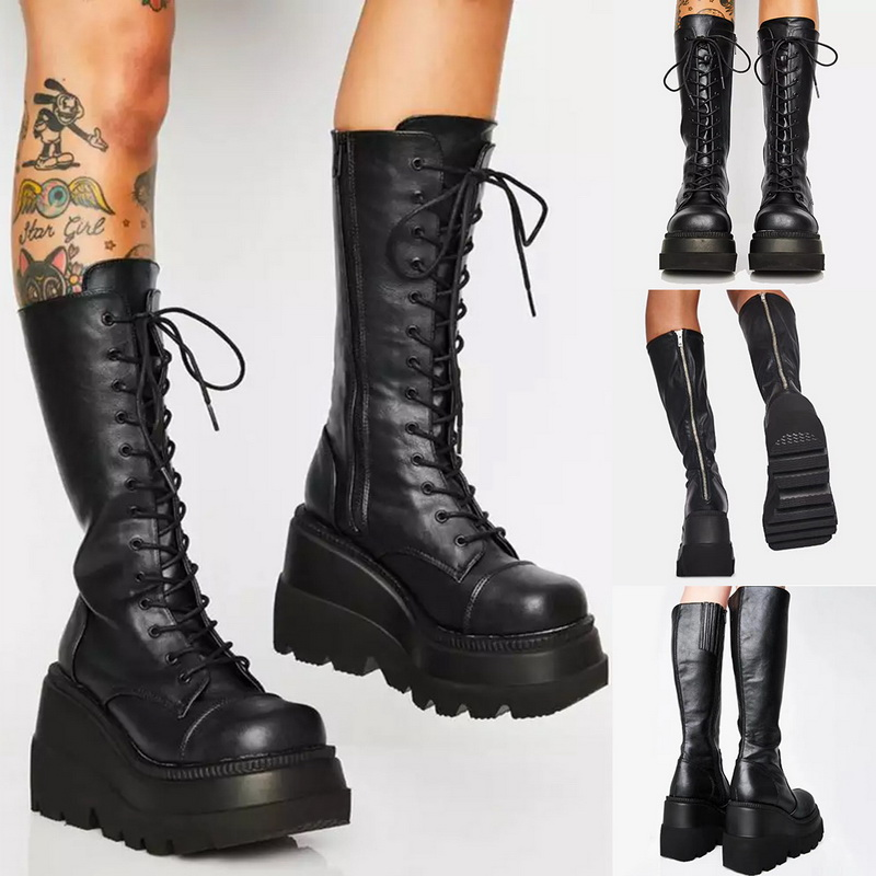 Platform Boots Women Wedge Knee High Boots Winter Ladies Shoes Leather Riding Zipper thick bottom Long Boots Autumn Fall 2020