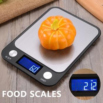 Balanza Digital de cocina de 5kg ~ 1g, pantalla LCD, plataforma electrónica de acero inoxidable, báscula de peso