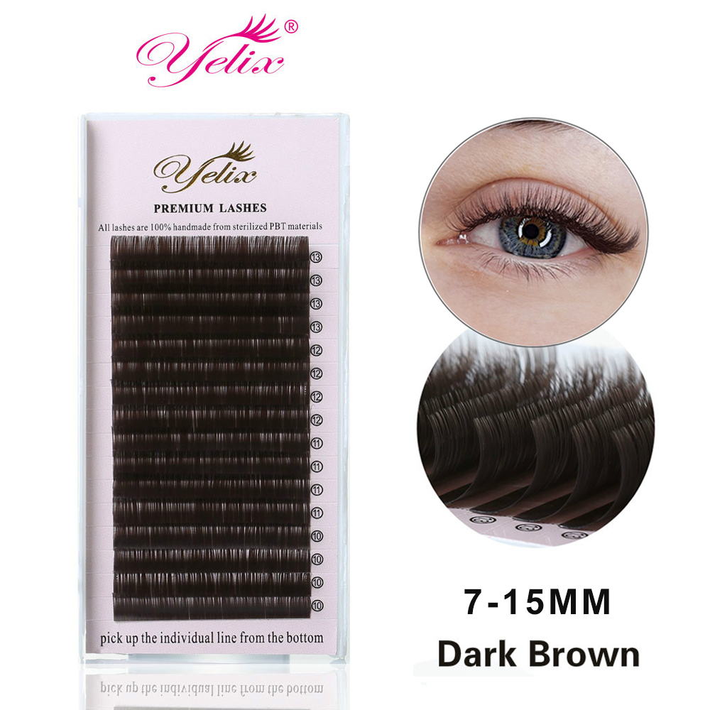 YELIX  Individual False Dark Brown Eyelashes Natural Eyelash Extension Colored Mink Lashes Extensions Easy Fan Lash 0.07/0.10
