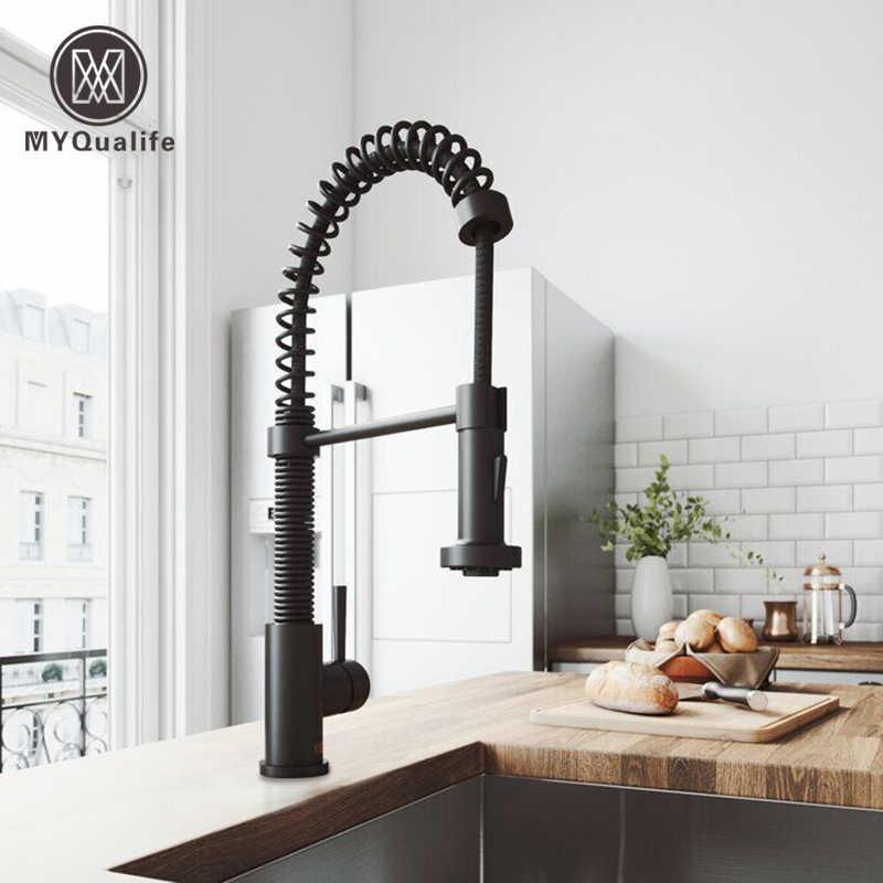 matte black pull out kitchen sink faucet spring single handle hot cold kitchen sink mixer tap swive spout kitchen tap