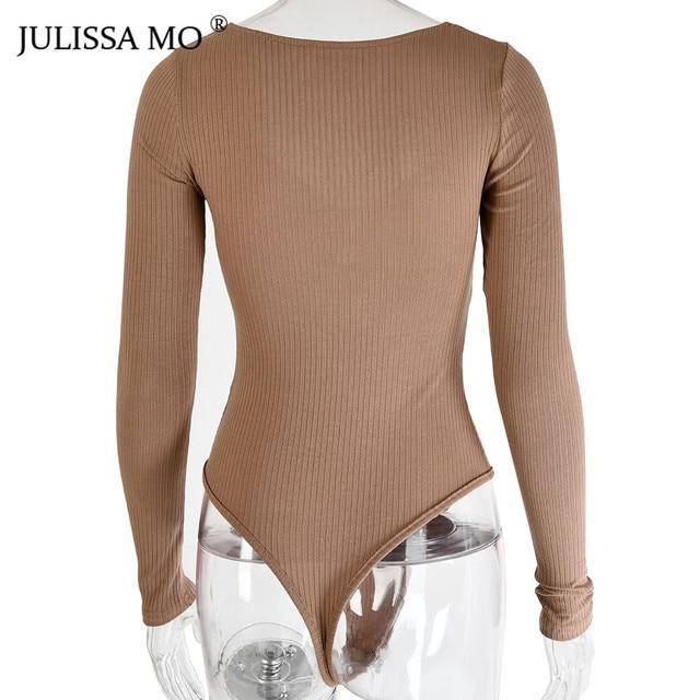 JULISSA MO Rib Knitted Long Sleeve Bodysuit   5