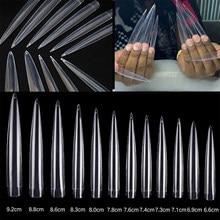 24 pontas de unha stiletto dos pces forma longa extra limpar metade cobrir pontas falsas da arte do prego 12 tamanho