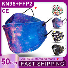 Fast Shipping! 50PC Fish KN95 Mask 4-Layers Non-woven Reusable Masks Adults Dustproof Print Mouth Mask KF94 FFP2 Mascarillas