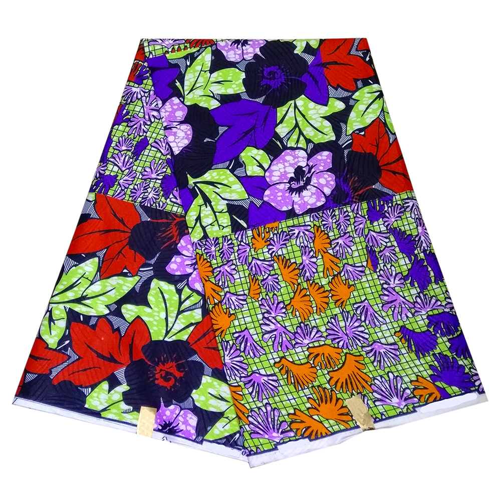 Latest African Colorful Flower Print Wax Fabric High Quality Ankara Polyester Fabric Real Dutch Wax For Party Dresses