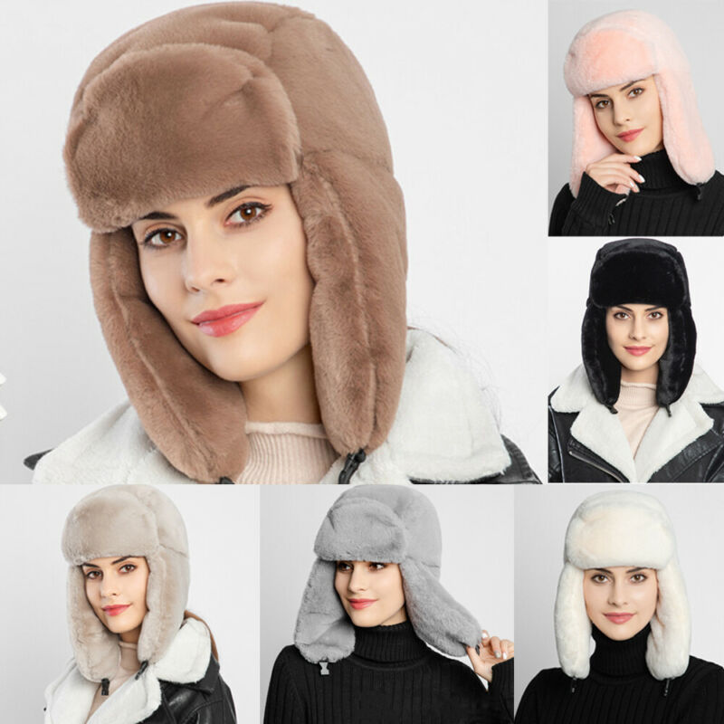 Women Men Winter Outdoor Warm Fluffy Fleece Hat Faux Fur Earflap Ski Cap Thick Bomber Hats Keep Warm And Keep Warm!