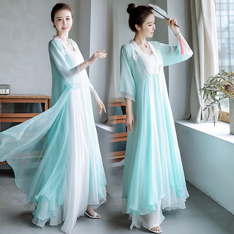 2020 Chinese Dress Vestidos Women's Chiffon Robe Cheongsam Qipao Zen Meditation Tea Dress Clothes Vintage Casual Retro