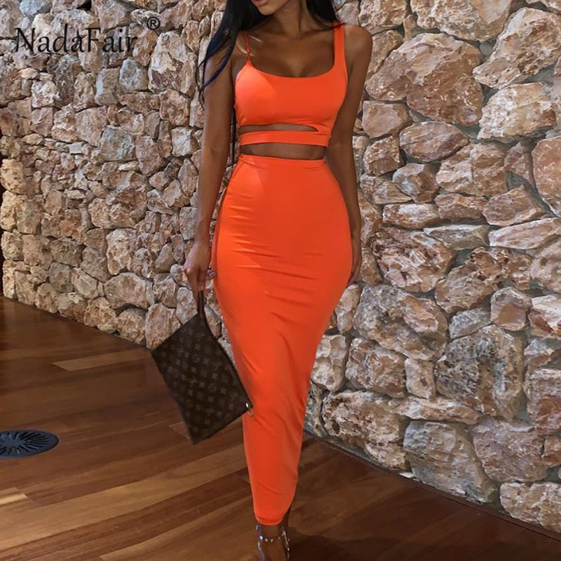 Nadafair 2PCS One Set Midi <font><b>Dress</b></font> Hollow Out Spaghetti Strap Summer Bodycon <font><b>Dress</b></font> <font><b>Orange</b></font> <font><b>Sexy</b></font> Party <font><b>Dresses</b></font> Club image