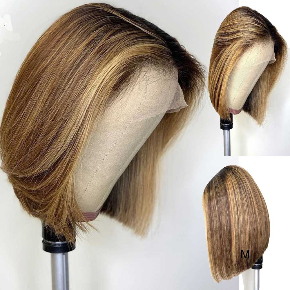 Short Bob Ombre  Color 13*6 Deep Part Lace Front Human Hair Wigs Straight Brazilian Remy Hair Pre-Plucked Wigs For Black Women