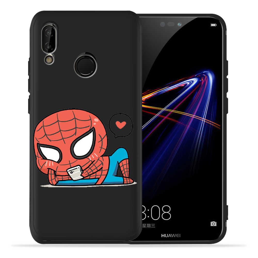 Marvel Avengers Spiderman deadpool Nero Cassa Del Telefono Per Huawei honor 8 9 10 Lite honor 9X20 Pro P Smart morbido Della Copertura Della cassa Etui