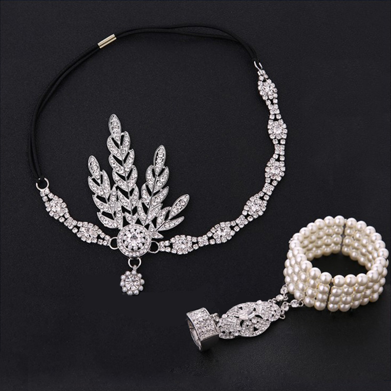 1920s Great Gatsby Party Costume Accessories Set 20s Flapper Arc Deco  Vintage Bridal Headband Pearl Bracelet Costume Accessory
