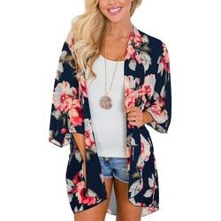 Frauen Casual Vintage Kimono Strickjacke Damen Sommer Lange Häkeln Chiffon Kimono Druck Lose Flora Gedruckt Bluse Tops