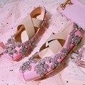 Zapatos de Ballet para mujer, zapatos planos con cordones cruzados, zapatos cómodos de imitación de gamuza para mujer, zapatos planos rosados para mujer muje Tsx-081