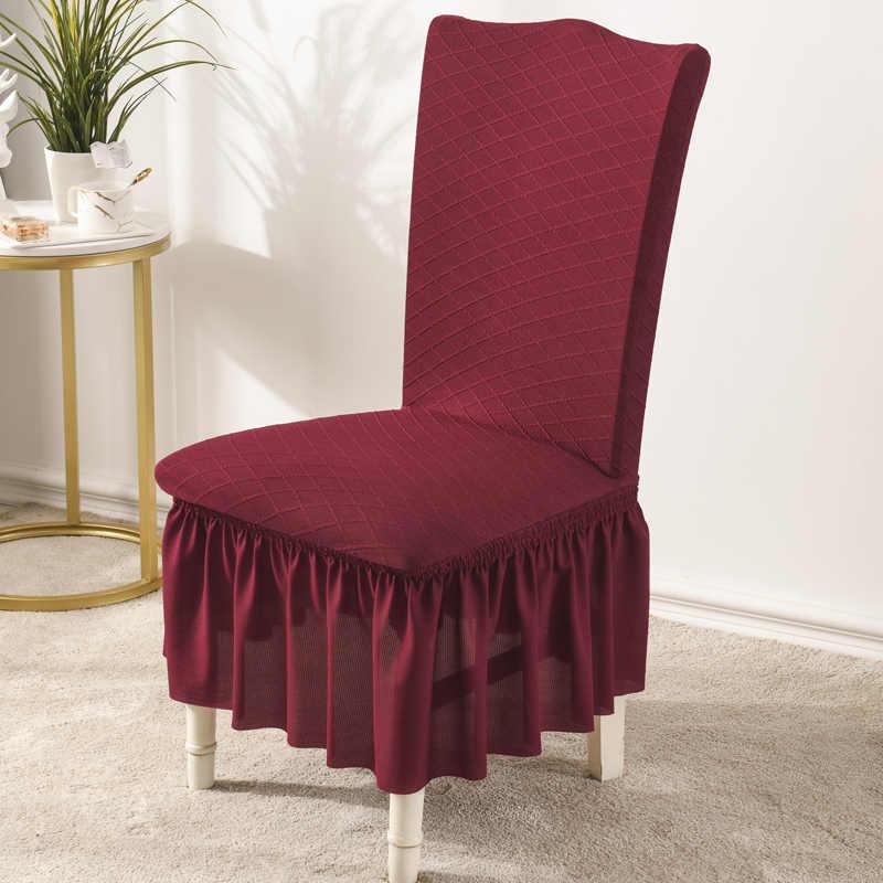 Nueva funda elástica de LICRA para silla con falda, funda desmontable antisuciedad para silla, funda para comedor, cocina, Hotel, banquete de boda