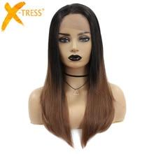 Ombre חום סינטטי תחרה קדמית פאות משלוח חלק טמפרטורה גבוהה סיבי שיער X TRESS ארוך ישר שוויצרי תחרה שחורה נשים