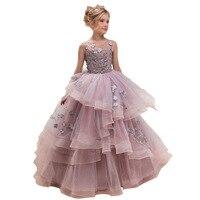 New Style Lace Dress INS Girls Evening Dress Children Autumn Clothing Catwalks Host Performance Princess party Dresses