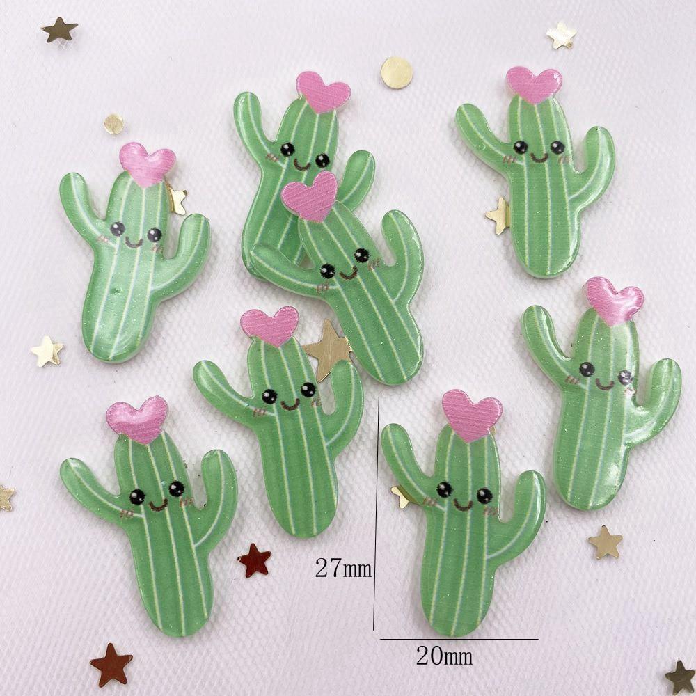 Glitter Kawaii Colorful Cute Cactus Flower Flatback Acrylic Sheet Miniature Pattern Applique DIY Decor Embellishments Craft