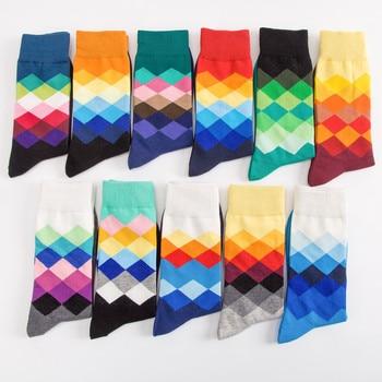 10 pares/pacote! Meias Ciclismo meias de Golfe dos homens gradiente de cor de Diamante-em forma de malha de algodão meias meias meias de desporto de fitness gym yoga