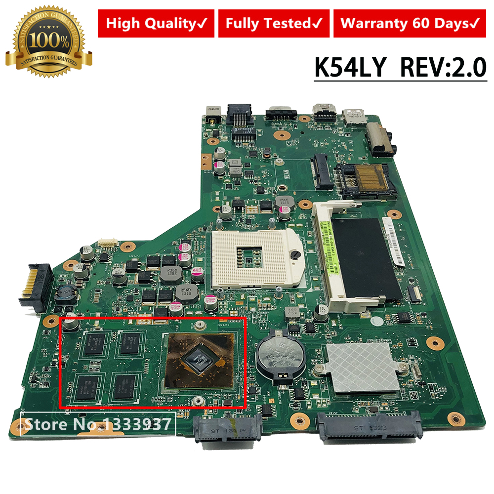 For ASUS K54LY K54HR X54H X54HR Laptop Motherboard Tested REV.2.0/2.1 K54LY Mainboard