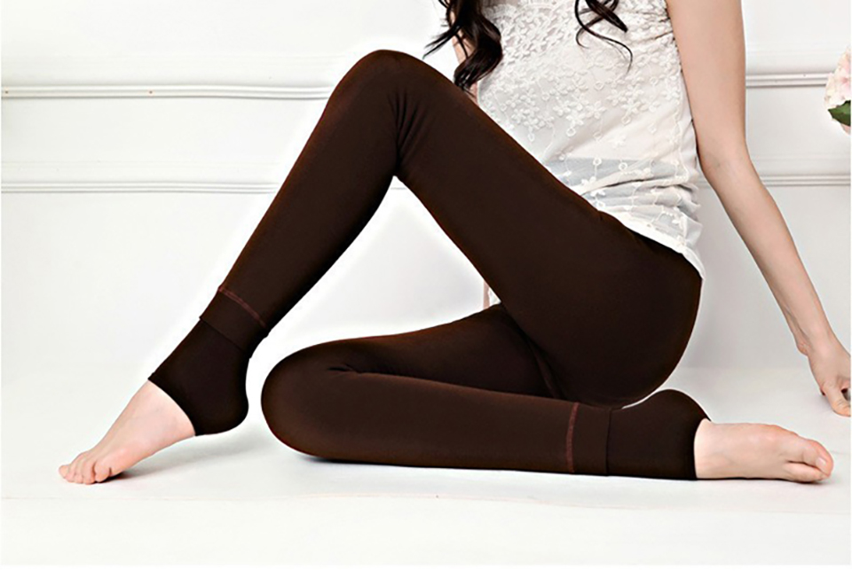 SALSPOR S-3XL Solid Color Women Winter Velet Trousers Female High Elastic Warm Nine pants Ladies Sexy High Waist Slim Leggins 32